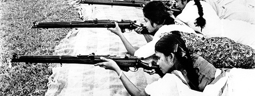 Women, some of whom are quite young in this photo, take target practice in Dacca (East Pakistan, now Bangladesh) during the 1964-65 Indo-Pakistani War.